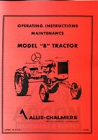 ALLIS CHALMERS B TRACTOR OWNER MAINTENANCE MANUAL