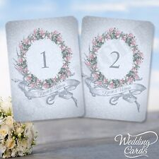 Vintage Style Wedding Table Numbers Names Cards Shabby Chic Flower Rose Place A6