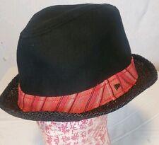 NWT New Era EK BLACK Fedora Hat - Size L 50% Cotton 50% Linen