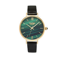 LRNP  LR2016 Lola Rose Ladies Green Malachite Leather Strap Watch