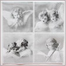 4 Single paper decoupage napkins. VINTAGE ANGELS GIRLS   -221