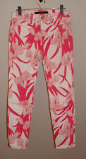 NWT JOE'S HIGH WATER ELECTRIC PINK ASIAN FLORAL MID-RISE STRETCH JEANS SIZE 27