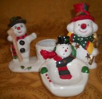 "Collectible Ceramic/Porcelain ""Snowman"" set of 3 - 2 Candle Holder & 1 soap dish"