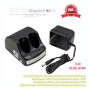 Dual Port Charger for Black & Decker VP100 VP110 VersaPak 3.6V Battery