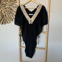 Ellis & Dewey White Label O/S Kaftan Black Gold Sequin 100% Cotton Dolman Dress