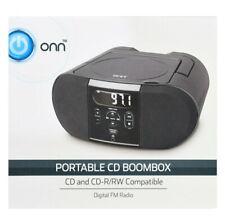 Onn Portable CD Player/ Boombox Digital FM Radio/Headphone Jack (Black)