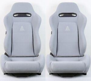 2 X TANAKA GRAY MICRO CLOTH RACING SEAT RECLINABLE + SLIDER FIT FOR SUBARU