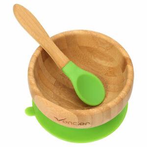 Baby Suction Bowl & Spoon Antibacterial Bamboo Feeding Dinner Set Lynen