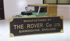 Land Rover Series 1 80 SWB Bulkhead Chassis Brass Rover Factory Plate/Plaque