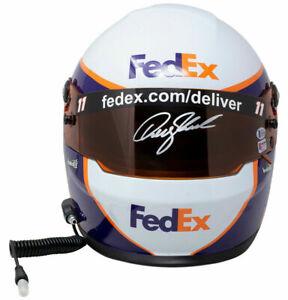 Denny Hamlin Signed FedEx Full Size Replica Nascar Helmet BAS