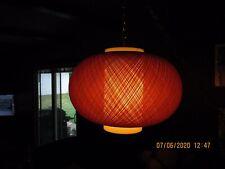 Vintage MCM Spun Fiberglass Hanging Swag Lamp Orange