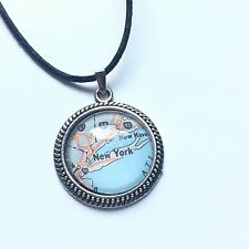 QUEENS NEW YORK NY I-95 UNITED STATES USA old Map Pendant Silver necklace ATLAS