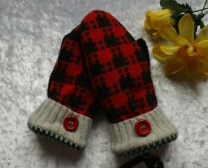 RED & BLACK HANDMADE UPCYCLED SWEATER MITTENS - GREAT XMAS GIFT (SM123)