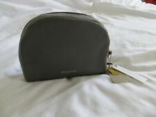 BNWT Ladies Accessorize Grey Suede Leather Make Up Bag Clutch