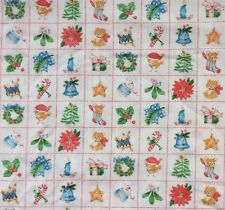 Vtg Spring Mills Christmas Fabric Squares Ornaments Animals Wreath BTY 45 X 36