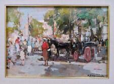 A SCOGNAMIGLIO ? (late 20thC) IMPRESSIONIST Oil Painting ITALIAN STREET SCENE