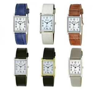 Ravel Men's Classic Rectangular Square Dial Leather Strap Watch R0120