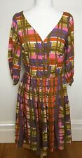 LAZYBONES 1950's Look Olive Mauve Orange Check 3/4 Sleeve V-Neck Shirt Dress S