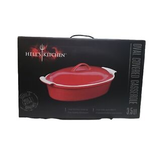 Hell's Kitchen.3.5 Qt Enameled Stoneware Oval Covered Casserole Dish