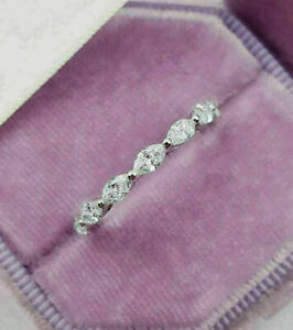 2.64 Ct Diamond Full Eternity Engagement Wedding Fancy Band Ring 14K White Gold