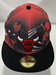 CHICAGO BULLS NBA NEW ERA 59FIFTY FITTED MARVEL CITY BLACK HAT/CAP SZ 7-3/8 Rare
