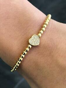 Yellow Gold Stainless Steel Bead Pave Heart Design Stretch Bracelet Stackable