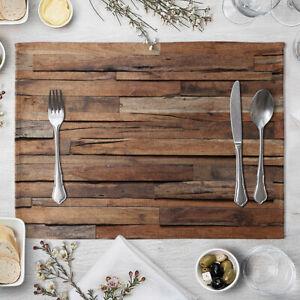 Wood Grain Placemats Heat Resistant Place Mats Non-Slip Dining Table Mats #4