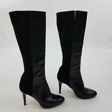 Jimmy Choo Boots Adele 38 8 Black Leather Heel Suede Zipper Pointy Toe Knee High