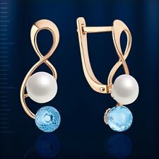 Pearl Blue Topaz briolette earrings Russian solid rose gold 585 /14ct NWT