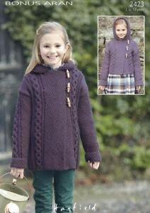 Hayfield Knitting Pattern Long Duffle Coat - 2423 - Bonus Aran