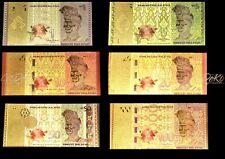 Malaysia Ringgit Gold Banknote Set Geldschein Schein Note Goldfolie Malaysian