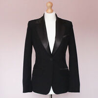 Warehouse smart black tuxedo blazer jacket UK 10 with pockets satin lapels