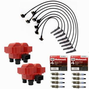 Ignition Coils Turn Up Kits + Motorcraft Platinum Spark Plugs For Ford Mazda