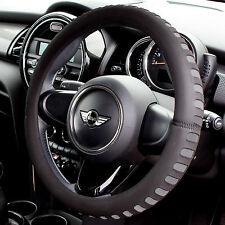 Grey & Black Foam Steering Wheel Cover/Glove Soft/Padded Car/Van Universal Fit