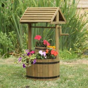 Wooden Garden Wishing Well Planter Large Outdoor Garden Plants Decoration Flower