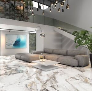 Invisible Marble 60 X 120 Marble Effect White Gloss Polished Porcelain (£PerM2)