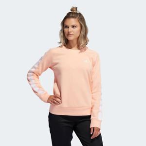 NWT Adidas Womens Essential 3Stripe Crew Neck Sweatshirt Haze Coral SZ L FK9869