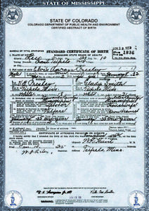 #811 ELVIS PRESLEY - Official Licenced Birth Certificate Reproduction