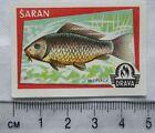 vintage Matchbox Label - Drava - Fish - Saran
