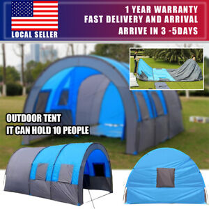 8-10 Person Outdoor Tunnel Tent Polyester Large Tent Portable Waterproof Hiking