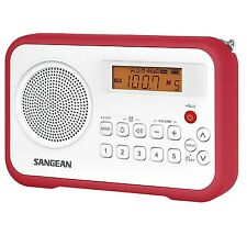 Sangean PR-D18 FM-Stereo / AM Digital Tuning Portable Radio Receiver, White Red