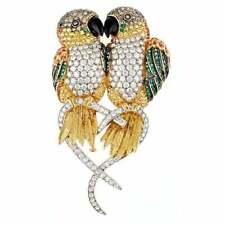 Brilliant Cubic Zirconia, Sapphires and Emerald 925 Silver CAIQUE PARROTS Brooch