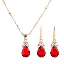 Fashion Red Crystal Rhinestone Necklace Earrings Jewelry Set Women Wedding Gift