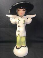 Vintage Mid Century 1950's Kitsch Asian Woman Ceramic Figurine Gold Trim