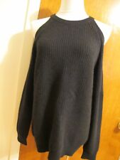 Aqua Women's Black Cashmere Cold-Shoulder Detailed Long Sleeves Sweater  S NWT