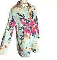 Soft Surroundings M Button V-Neck Collar Lily Tunic Top Floral Blue Pink 2BF37