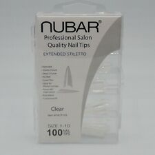 Nubar Professional Salon Quality Clear Nail Tips Extended Stilletto 100 Tips