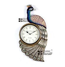 Traditional Rajasthani Hand Painted Wooden Peacock Shape Wall Clock - 468