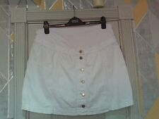 "TOPSHOP-  White ""OVER THE BUMP"" MATERNITY DENIM  Skirt Size 14 bnwts"