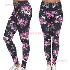 ROSE Rosa Morbido Leggings - 8-10 UK, FLOREALE FIORI, ROSE, Yoga Fitness Fit Rose